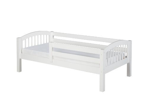 Camaflexi Arch Spindle Style Solid Wood Day Bed with Front Rail Guard, Twin, White