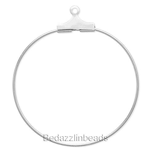 10 Silver Beading Hoop Earring Finding Components With Loop Plated Brass Metal (30mm)