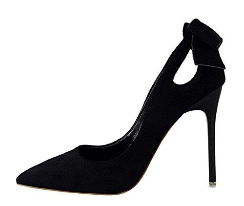 Noir Chaussure Mode Mariage Club CM Soirée 10 Sexy Haute Pointu Bout Aiguille 5 Talon Femme Noeud wealsex Escarpin Suédé w1P44U
