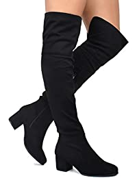 Women's Over The Knee Stretch Boot - Trendy Low Block...