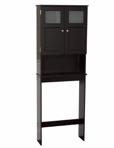 Zenna Home 9820CHBB, Bathroom Spacesaver, Espresso/Frosted Glass Espresso Space Saver