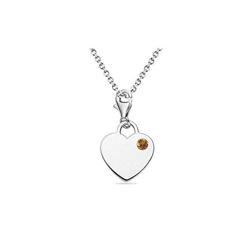 0.08 Cts Citrine Solitaire Multi-Purpose Heart Charm Pendant in Silver - Valentine's Day - Cts Citrine Solitaire