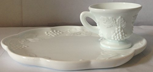 Vintage Indiana Colony Milk Glass White Harvest Grape Snack Tray and Cup Set (Milk Indiana Glass Harvest Grape)
