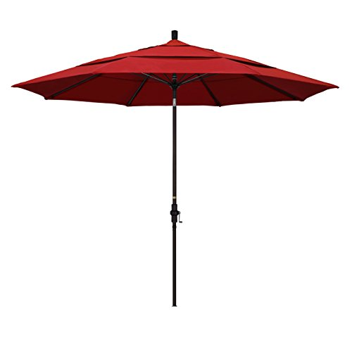 11' Market Umbrella Fabric - California Umbrella 11' Round Aluminum Pole Fiberglass Rib Market Umbrella, Crank Lift, Collar Tilt, Bronze Pole, Red Olefin