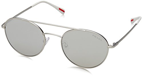 Prada Linea Rossa  Men's 0PS 51SS Matte Silver/Light Grey Mirror Silver - Linea Prada Sunglasses Rossa