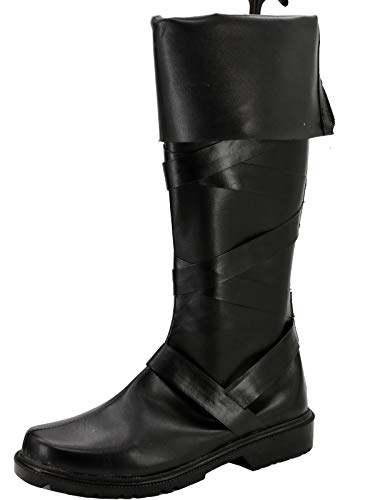 GOTEDDY Women Stella Halloween Cosplay Boots Black Leather Flat Shoes -