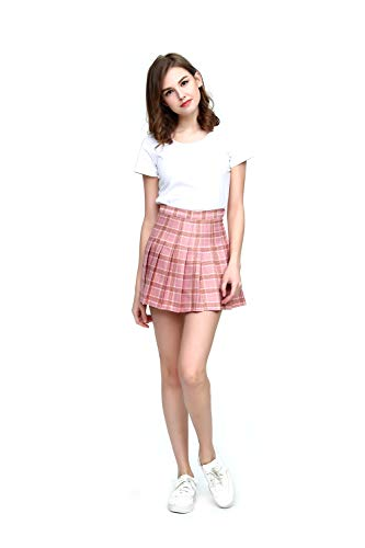 Fashion World Women High-Waist Pleated Mini Skirt with Soft Shorts Underneath,Pink Medium