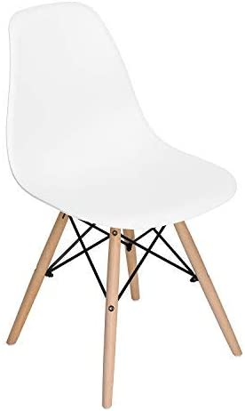 Homycasa Eiffel DSW Style Mid Century Side Dining Chairs Molded Plastic Cover Natural Wood Legs Set of 6, White