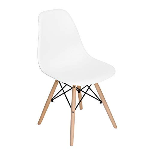 HOMY CASA Homycasa Eiffel DSW Style Mid Century Side Dining Chairs Molded Plastic Cover Natural Wood Legs Set of 6, White