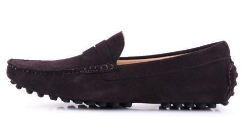 Happyshop (tm) Mocassino Uomo In Pelle Scamosciata Mocassino Mocassino Comfort Mocassino Slip-on Marrone