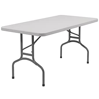 "National Public Seating BT3060 Steel Frame Rectangular Blow Molded Plastic Top Folding Table, 1000 lbs Capacity, 60"" Length x 30"" Width x 29-1/2"" Height, Speckled Gray/Gray"