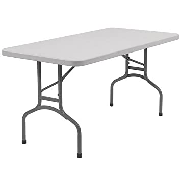 National Public Seating BT3060 Steel Frame Rectangular Blow Molded Plastic  Top Folding Table, 1000 Lbs