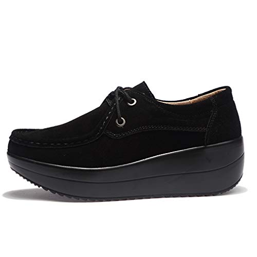 Orlancy Women's Up Lightweight Loafers Platform Lace Walking Leather Suede Black3 Casual YYqwrO