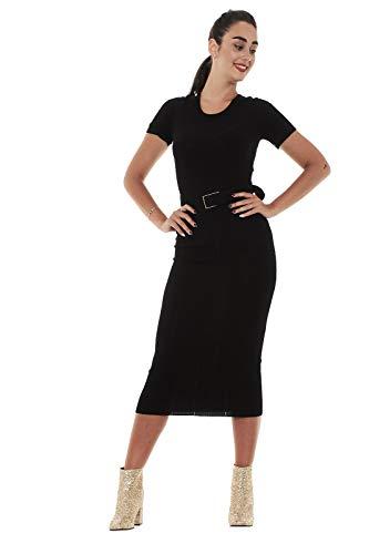 con 8A0465 costine lavorazione donna a abito Nero PEPE PATRIZIA A4C4 qIYt00