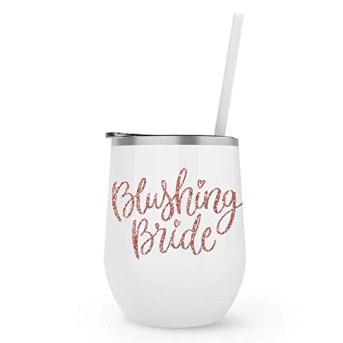 Bachelorette Party Cup Engagement Gift Blushing Bride Wine Tumbler with Straw 12 Oz Blush Travel Mug Stemless Travel Cup