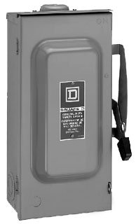 Square D by Schneider Electric D322NRB 60-Amp 240-Volt Three-Pole Outdoor General Duty Fusible Safety Switch with Neutral by Square D by Schneider Electric (Image #1)