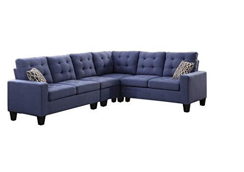- 4 Piece Soft Linen Fabric Reversible Sectional Sofa Set, 2 LAF/RAF Loveseat, 1 Corner Wedge, 1 Armless Chair (Blue)