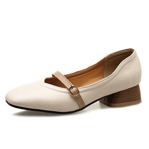 GIY Women's Retro Penny Loafers Shoes Metal Buckle Square Toe Mid Block Heel Pump Slip On Flat Shoes Beige
