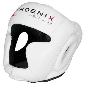 Phoenix Fight Gear Flight Headgear w/Cheek and Chin Protection (White, Large)