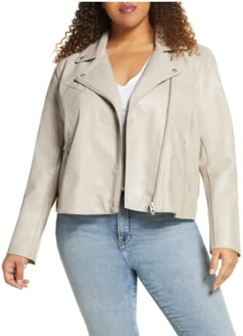 [BLANKYNYC] Women's Luxury Clothing ,  Faux Leather Jackets ,  Full Sleeve Zip Up ,  Short Motorcycle Outerwear ,  Fitted Slim Casual ,  Coats ,  Grey ,  3X