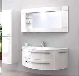 """OimexGmbH Design Badmöbel Set """"Côte d\'Azur"""" Weiß Hochglanz Waschtisch 120cm  inkl. Seitenschrank Armatur und Spiegel Badezimmermöbel Set mit Glas ..."""