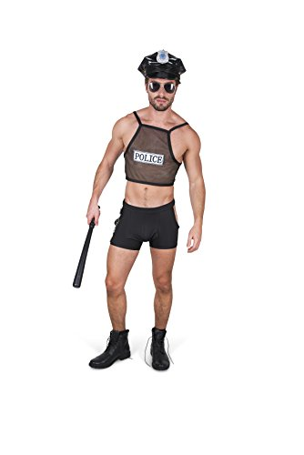Karnival Men's Hot Cop Costume Set - Perfect for Halloween, Costume Party Accessory. Trick or Treating (L)