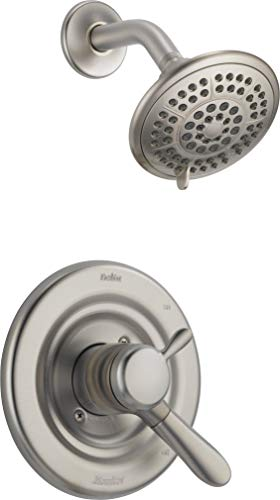 (Delta Lahara 17 Series Dual-Function Shower Trim Kit with 5-Spray Touch Clean Shower Head, Stainless T17238-SS (Valve Not Included) (Renewed))