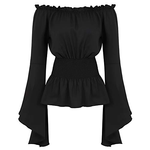 Womens Gothic Renaissance Blouse Long Sleeve Off Shoulder Medieval Victorian Costume Shirt Boho Corset Tops Black M ()
