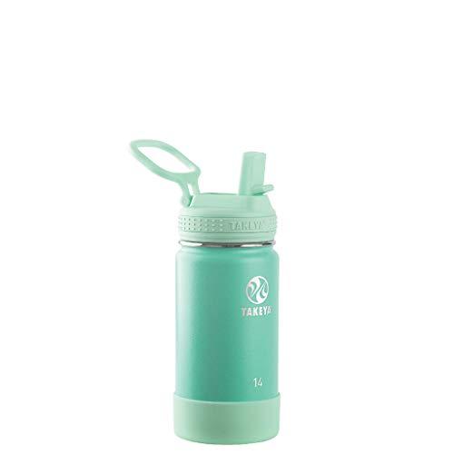 Takeya Kids Insulated Water Bottle w/Straw Lid, 14 Ounce, Seafoam