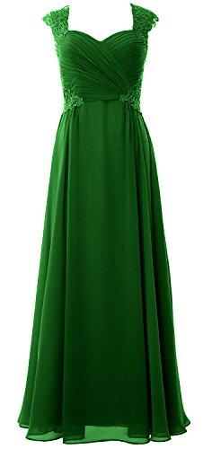 MACloth Women Cap Sleeve Chiffon Long Prom Dress 2017 Wedding Party Formal Gown Verde