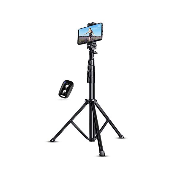 UBeesize Selfie Stick Tripod, 51″ Extendable Tripod Stand with Bluetooth Remote for Cell Phones, Heavy Duty Aluminum, Lightweight