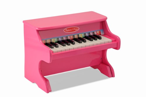 Melissa  Doug Learn-to-Play Pink Piano With 25 Keys and Color-Coded Songbook