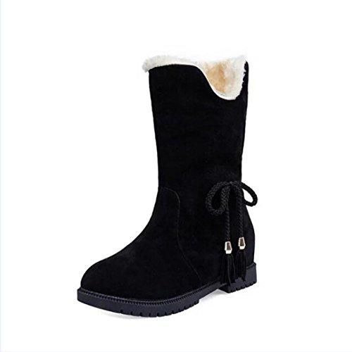 Transer® Damen Flach Kurze Stiefel Schmetterling Wildleder Stiefel Warm Weich Winter Schwarz Stiefeletten Schuhe Schwarz