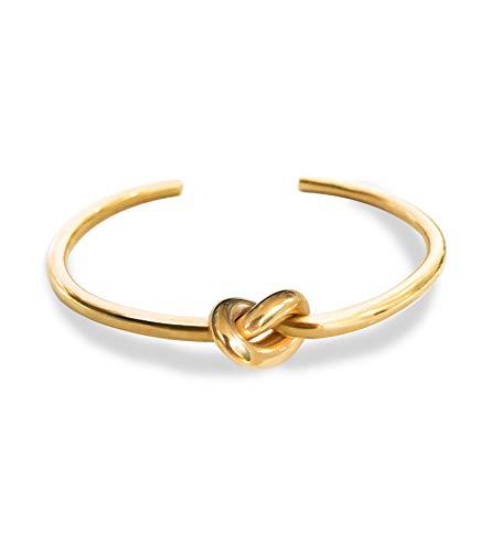 Altitude Boutique Knot Bangle Bracelet Thick 14kt Gold Plated (Gold)