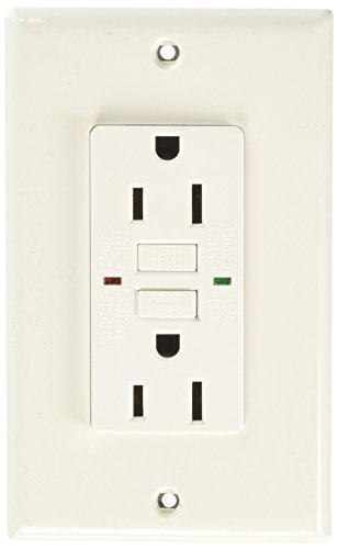 Royal Pacific 9214WH-L GFCI 15 Amp Ground Fault Circuit Interrupter, White with Green LED Indicator Light