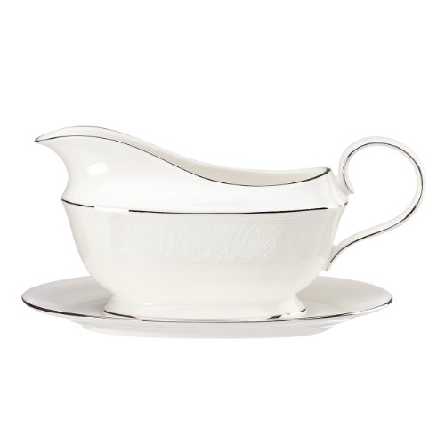 (Lenox Hannah Platinum Sauce Boat and Stand, White)