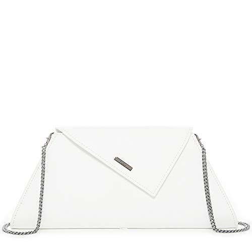 White Clutch Leather Evening Bag For Women Elegant Purse and Handbags With Crossbody Chain Shoulder Strap Zipper Closure Trendy Designer Bags Fits iPhone Plus For Party, Date and Event Birthday Gift