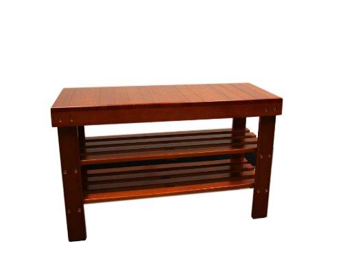 Ore International R3008-LBR Wooden Shoe Organizer Bench, 17.9-Inch, Light Brown