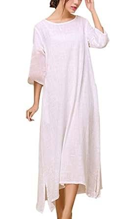 Aivtalk Women's Loose Fitting Linen Long dress Leisure Linen Long Sleeve Dress