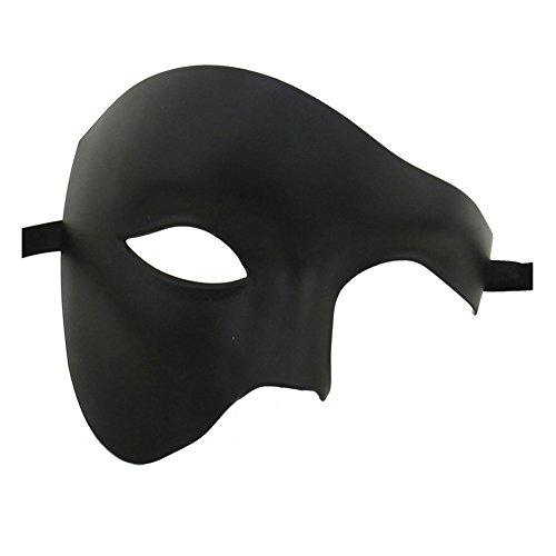 Xvevina Unisex Half Face Phantom Of The Opera Costume Masquerade Mask (Plain Black)