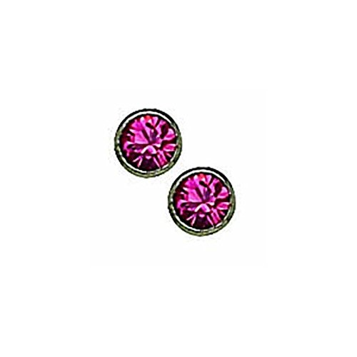 Titanium 4mm Rose Crystal Bezel Earrings - Hypoallergenic for Sensitive Ears ()