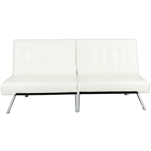 Best Choice Products Modern Leather Futon Sofa Bed Couch Recliner Lounger Sleeper w/ Chrome Legs - White