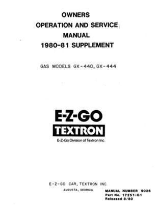 ezgo 17251g1 1980 1981 service parts manual supplement for gas ezgo rh amazon co uk 1989 ezgo marathon parts manual 1988 ezgo marathon parts manual