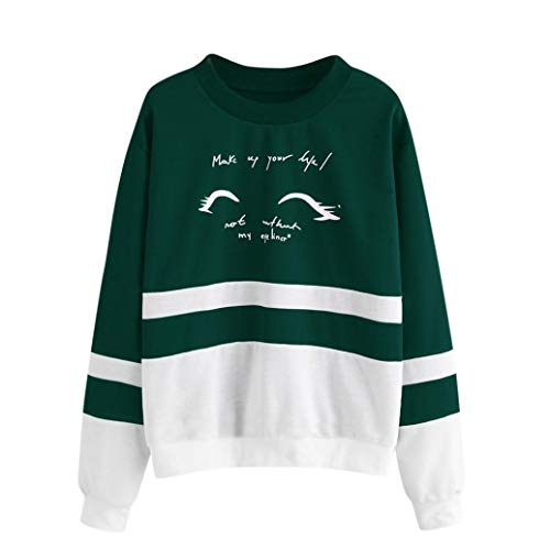 Rond zahuihuiM Nouveau Lettre Rayures Sweatshirt Blouse Imprimer Longues Vert De Courte Manches Hiver Femme Tops Col Mode WHvWxCn