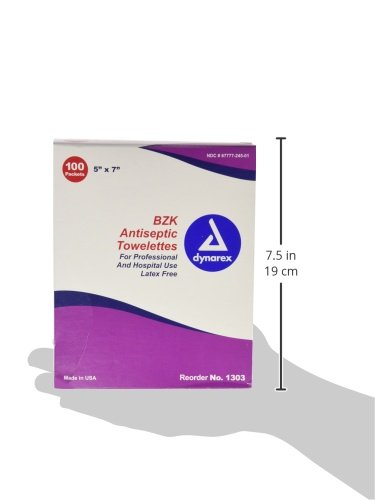 "BZK Antiseptic Cleansing Towlettes, 100 packaged towlettes, 5""x 7"""