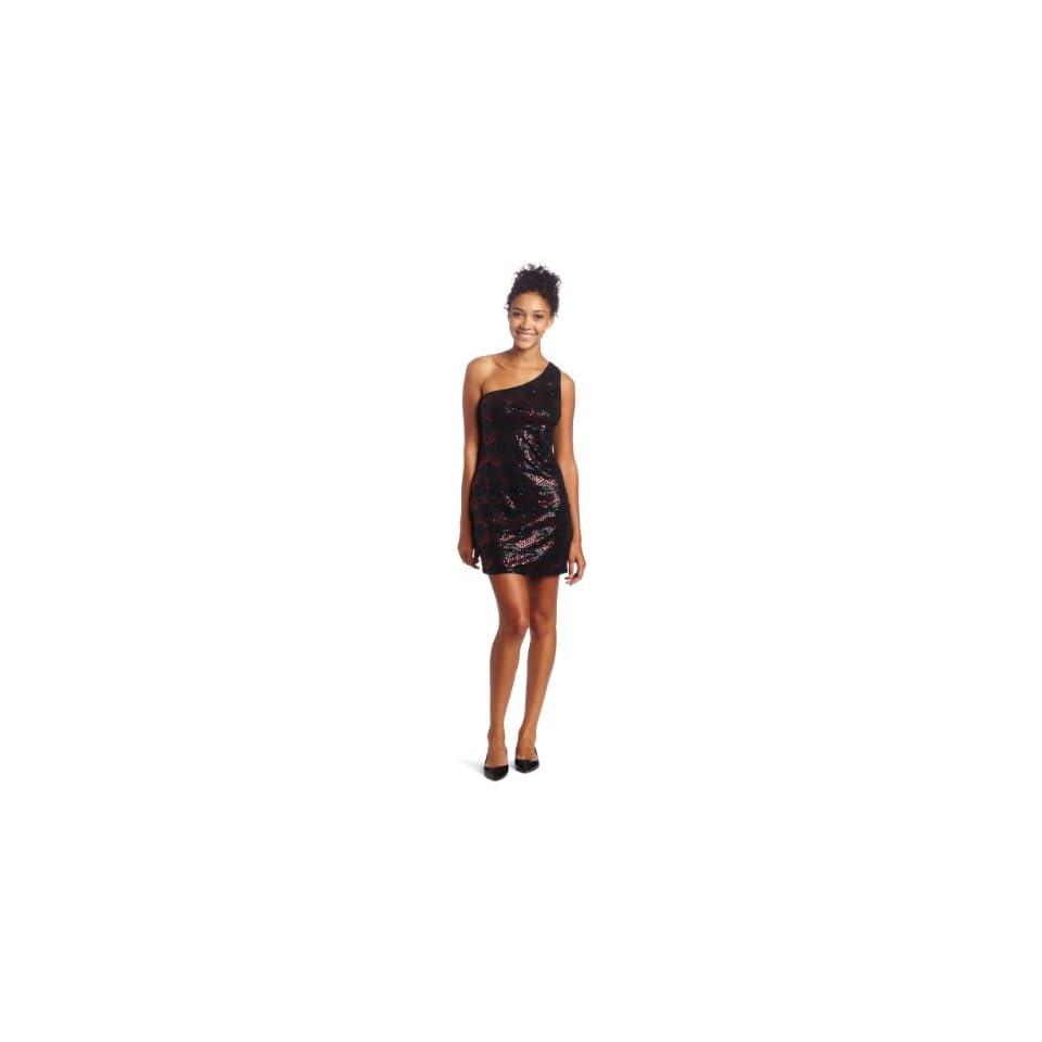 As U Wish Juniors One Shoulder Print Sequin Dress Clothing