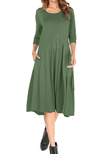 MOLERANI Women's Casual Plain Simple T-shirt Loose Long Dress With Pockets Army Green M