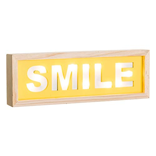 Cartel luz de Madera Amarillo Vintage para decoración Iris - LOLAhome