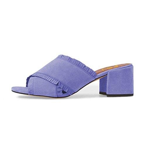 Fsj Donna Comfort Open Toe Muli Sandali Estivi In suede Scamosciato Con Frangia Tacco Blocco Tacchi Taglia 4-15 Us Purple