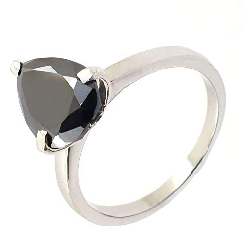 - skyjewels 2.12 Ct Pear Cut Black Diamond Ring in 925 Sterling Silver Gift for Partner